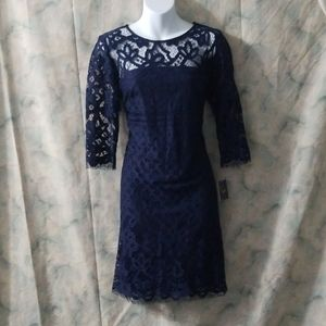 NWT Just...Taylor navy crochet lace tunic dress 10